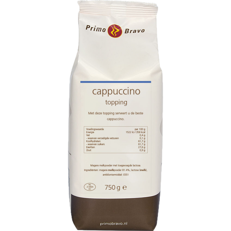 Primo Bravo Cappuccino Topping 750 gram Koffiewereld
