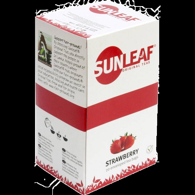 Sunleaf Aardbeien thee 80 stuks Koffiewereld