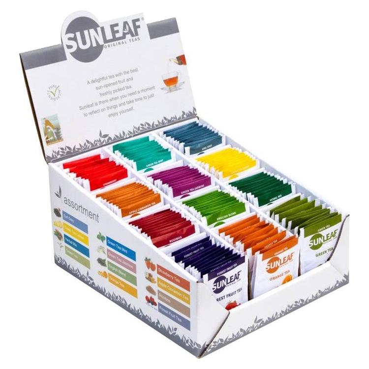 Sunleaf Assortiment Display thee 12 x 10 x 2 gram Koffiewereld